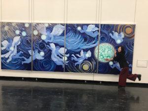 武田京子先生の宇宙シリーズ、天使の絵。めちゃめちゃ大きいです。